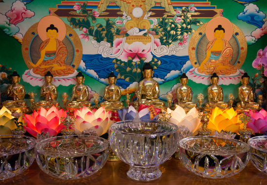 Medicine Buddha altar at Lama Zopa Rinpoche's residence in California